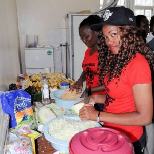 preparing food for charity at Eldoret Hospice
