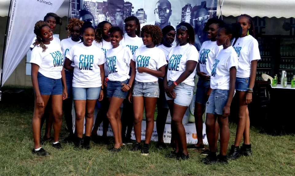 Cesar Models promoting Chrome at a Sauti Sol event