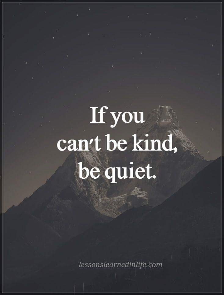 If you can't be kind, be quiet img