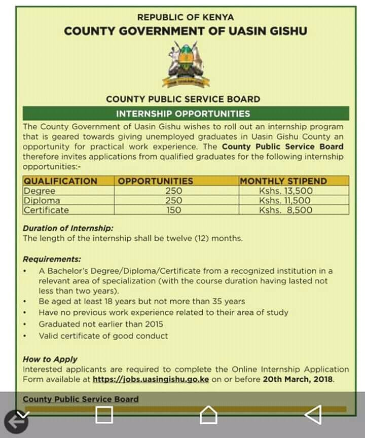 650 INTERNS WANTED BY The County Government of Uasin Gishu