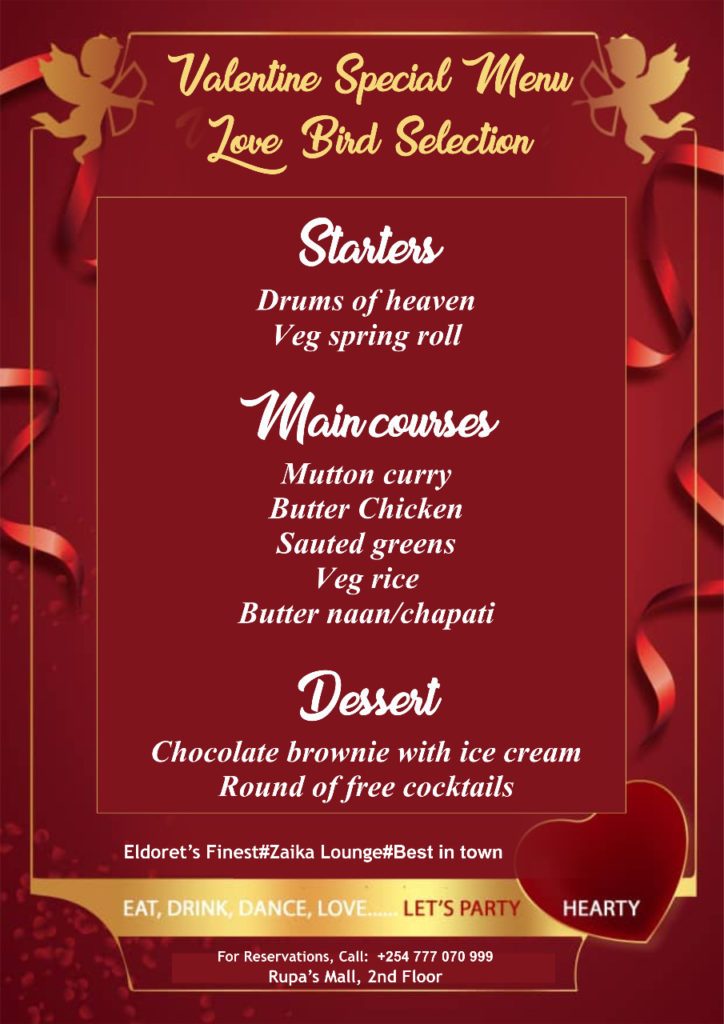 Zaika Valentine's Dinner offer in Eldoret