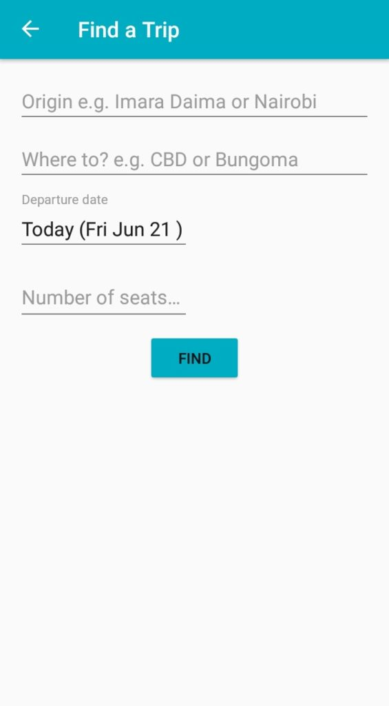 Twende Car Pooling App Schedule