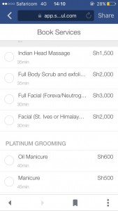 Platinum Scissors barber shop in Eldoret prices